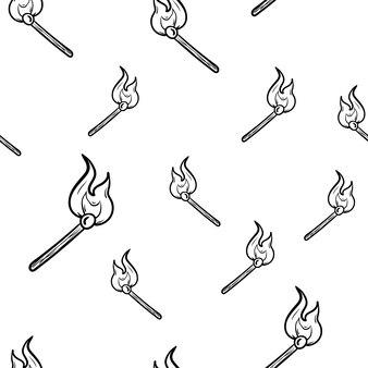 아름 다운 손으로 그린된 완벽 한 패턴 패션 불타는 일치 아이콘. 손으로 그린 검은 스케치. 기호 / 기호 / 낙서. 흰색 배경에 고립. 평면 디자인. 벡터 일러스트 레이 션.