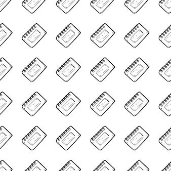 美しい手描きのシームレスなパターンのファッションカレンダーアイコン。手描きの黒いスケッチ。サイン/シンボル/落書き。白い背景で隔離。フラットなデザイン。ベクトルイラスト。