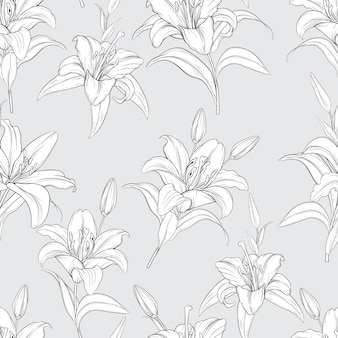 Beautiful hand drawn seamless pattern lily flowers