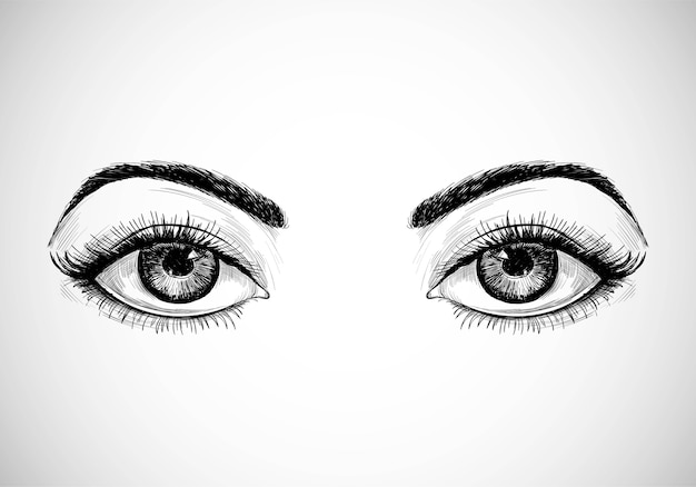 Beautiful hand drawn sketch eyes