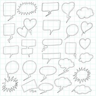 Beautiful hand drawn sketch speech bubble set design