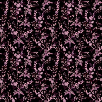 Beautiful hand drawn small scale of dark botanical florals in the garden night seamless pattern in   ,gentle and stylish design for fashion, fabric, wallpaper, wrapping and all prints.