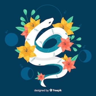 꽃과 함께 아름 다운 손으로 그린 뱀