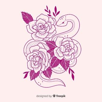 Красивая рисованная змея с цветами