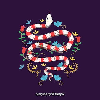 Beautiful hand drawn snake with flowers