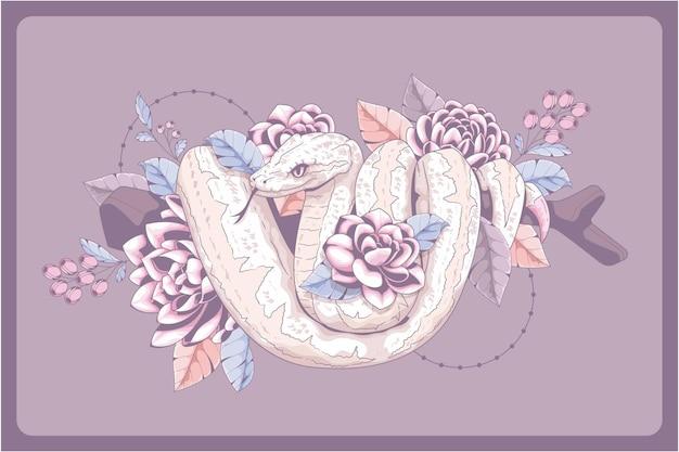 美しい手描きのヘビ