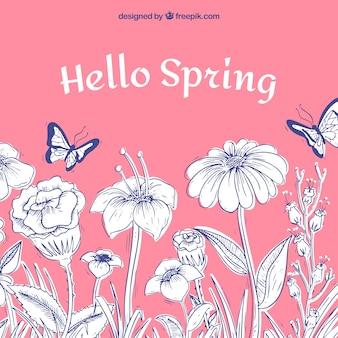 아름 다운 손으로 그린 봄 배경