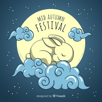 Beautiful hand drawn style background for mid autumn festival