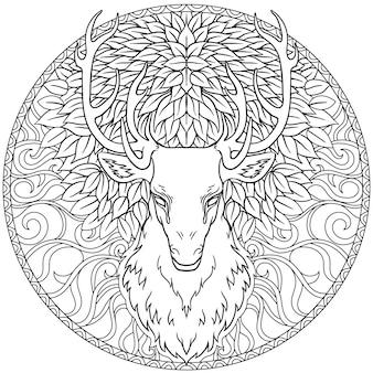 美しい手描きのトライバルスタイルの鹿の頭は華やかなマンダラの上。白黒で魔法のビンテージベクトル図。スピリチュアルアート、ヨガ、自由奔放に生きるスタイル、自然と荒野。