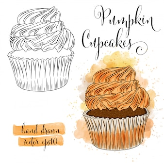 Beautiful hand drawn watercolor cupcakes with pumpkin