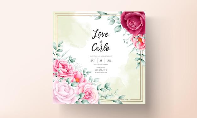 아름 다운 손으로 그린 수채화 꽃 결혼식 초대 카드