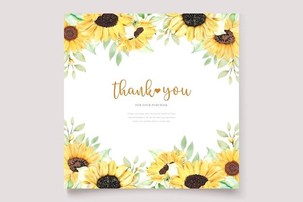 Beautiful hand drawn watercolor sunflower invitation card set