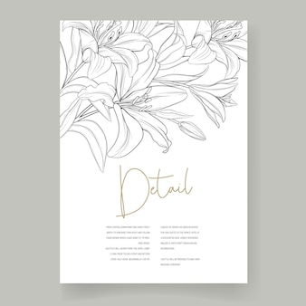 Beautiful hand drawn wedding card lily flowers