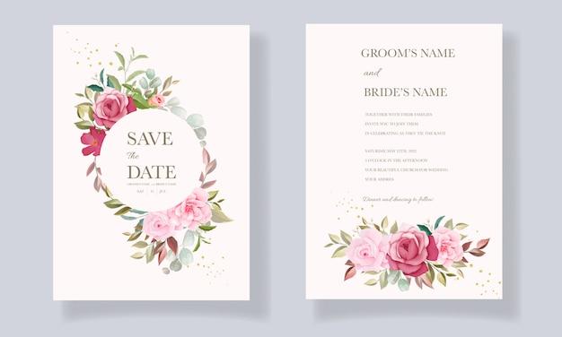 ブルゴーニュとピンクの花のフレームとボーダー装飾の美しい手描きのウェディングカードテンプレート