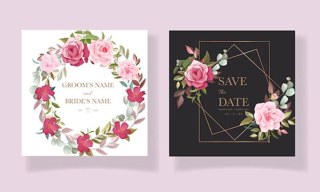 Красивый рисованный шаблон свадебной открытки с бордово-розовой цветочной рамкой и бордюром