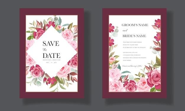 Красивый рисованный шаблон свадебной открытки с цветочным букетом и бордюром