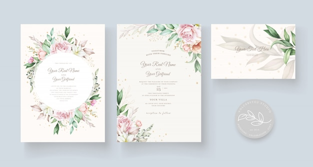 Beautiful hand drawn wedding card template
