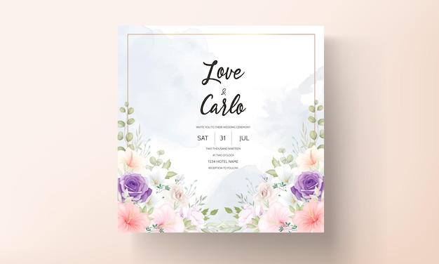 美しい手描きの結婚式の招待カードのデザインセット