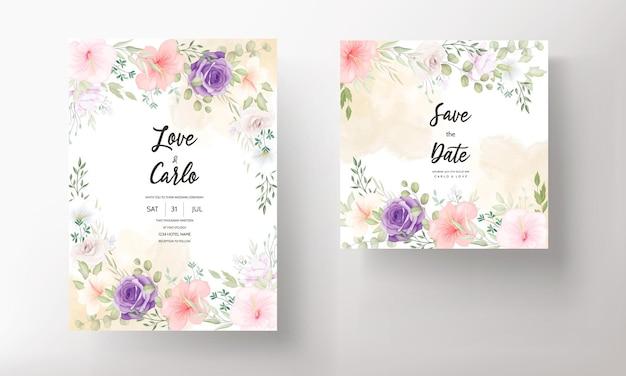 Красивые рисованные свадебные приглашения карты дизайн набор