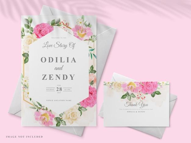 핑크 장미 디자인으로 아름 다운 손으로 그린 청첩장 카드 템플릿