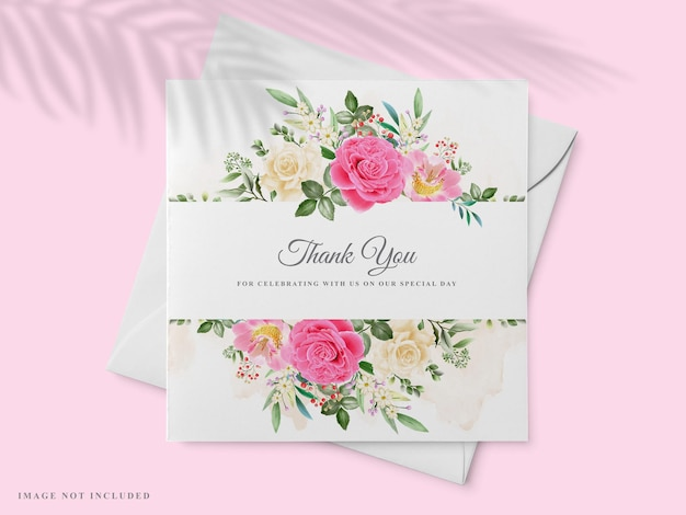 Beautiful hand drawn wedding invitation card template with pink rose design
