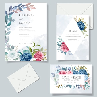 Beautiful hand drawn wedding invitation card template