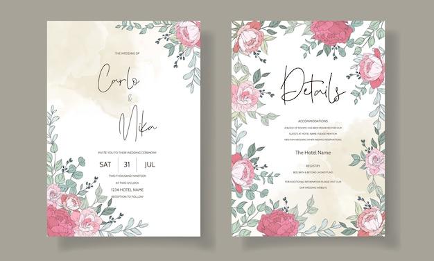 Modello di carta di invito matrimonio bella disegnata a mano