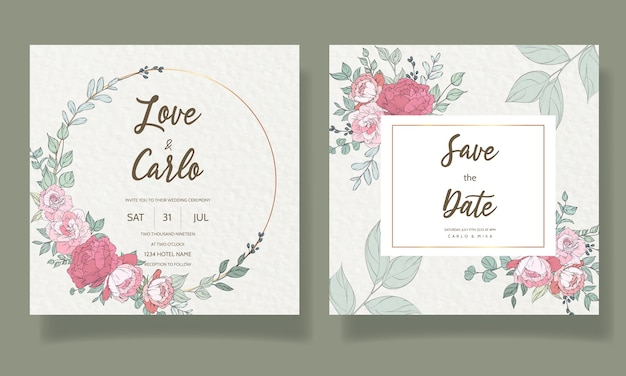美しい手描きの結婚式の招待カードテンプレート