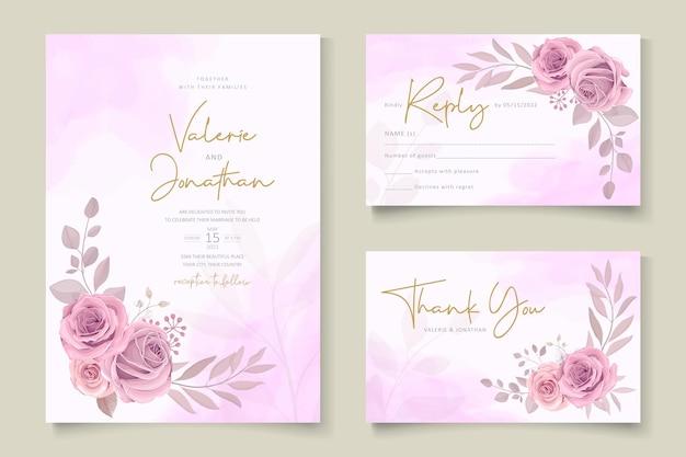 Красивые рисованные свадебные приглашения дизайн набор
