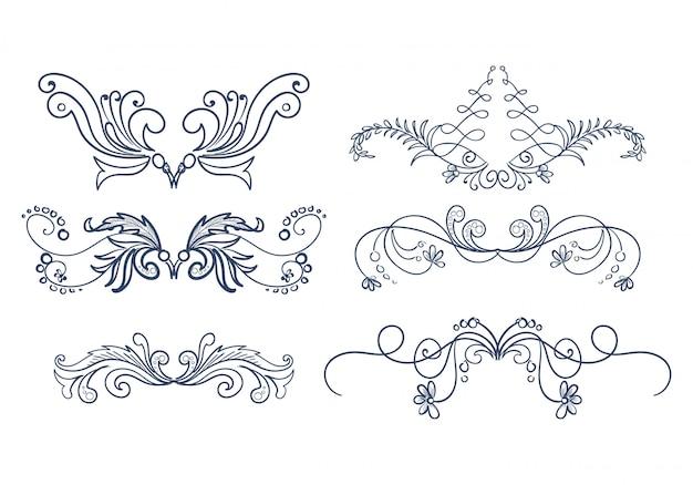 Красивый ручной обращается свадебный орнамент цветочный набор