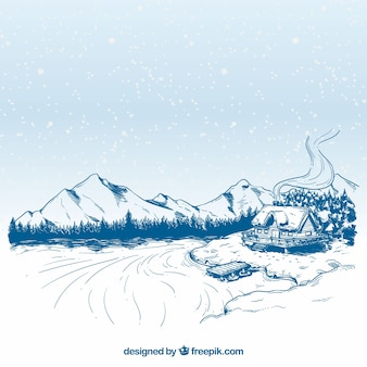 Beautiful hand drawn winter landscape