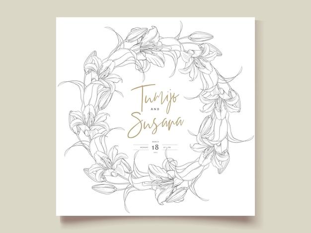 아름다운 손으로 그린 화환 백합 꽃