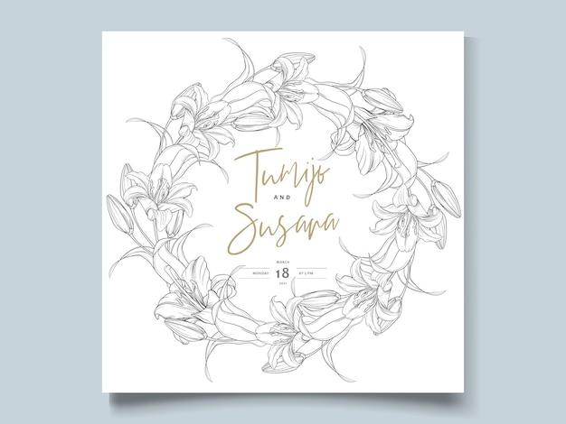 美しい手描きの花輪ユリの花