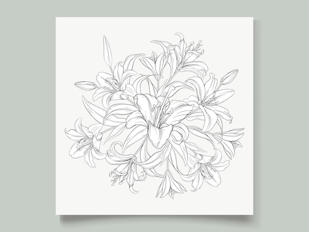 Beautiful hand drawn wreath lily flowers