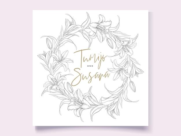 Beautiful hand drawn wreath lily flowers
