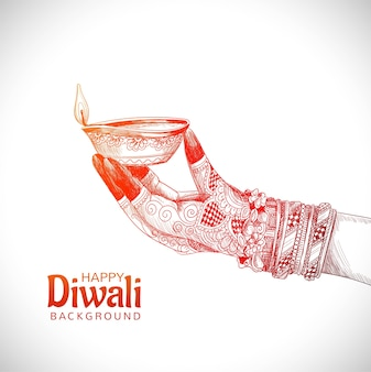 Beautiful hand holding sketch for indian oil lamp diwali festival background