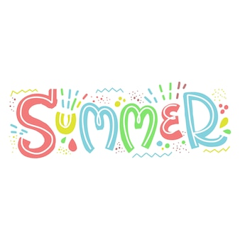 Beautiful hand lettering word summer