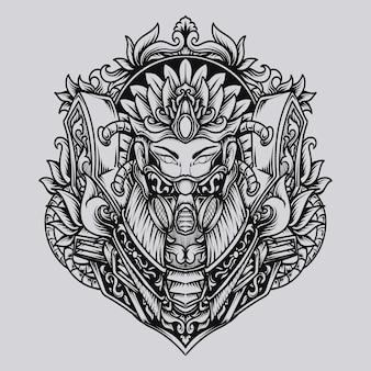 Красивый ручной дизайн королева гравировка орнамента