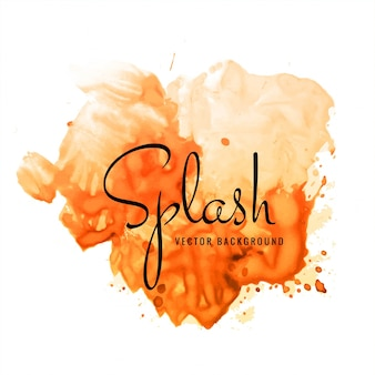 Beautiful hand paint watercolor orange splash on white background