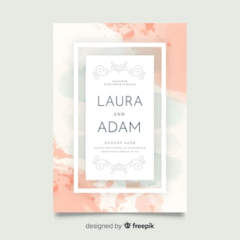 Beautiful hand painted abstract wedding invitation template