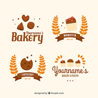Beautiful hand painted bakery logotypes