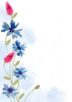 Beautiful hand painted floral background in watercolor style