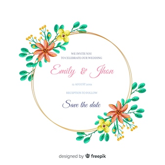 Beautiful hand painted floral frame wedding invitation