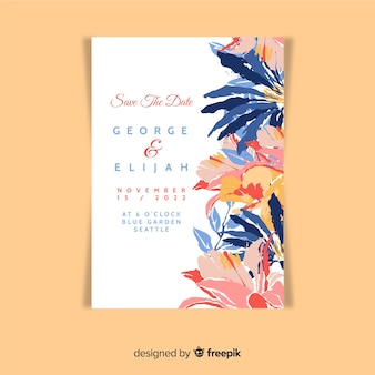 Beautiful hand painted floral wedding invitation template