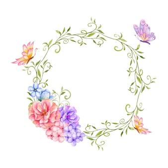 아름 다운 손으로 그린 나비와 수채화 꽃 프레임