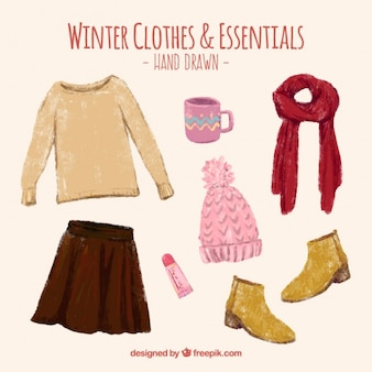 Beautiful hand painted winter clothes and accessories set