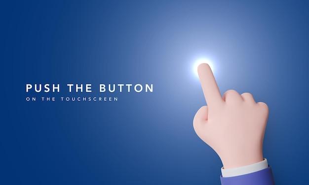 Красивая рука прижимает указательный палец к тачскрину. кнопка на сенсорном экране подсвечивается при нажатии пальцем. векторная иллюстрация