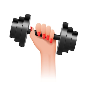 Beautiful hand of a strong woman holds a dumbbell. concept a girl power.
