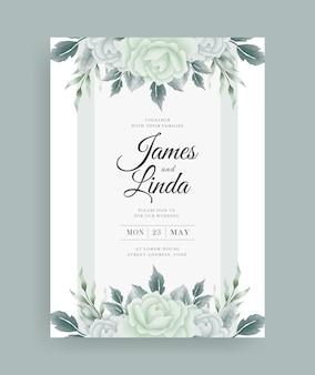 美しい手描きの水彩花の結婚式の招待カードのデザイン
