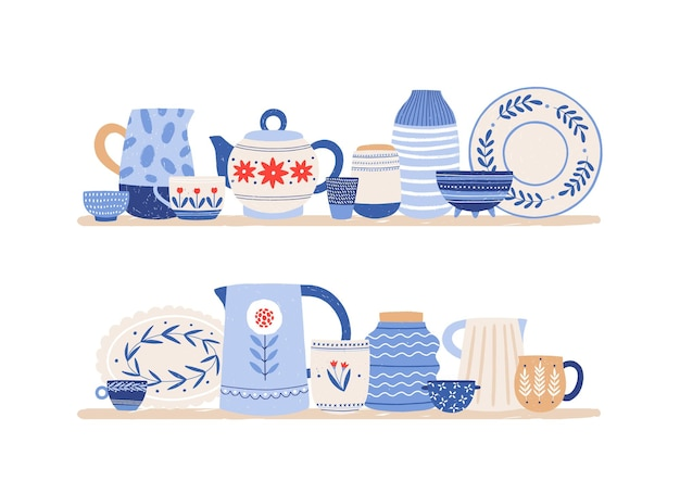 Beautiful handmade ceramics on shelves flat vector illustration. clean dishes. decorative tableware isolated on white background. kitchen utensils and dinnerware. restaurant faience.